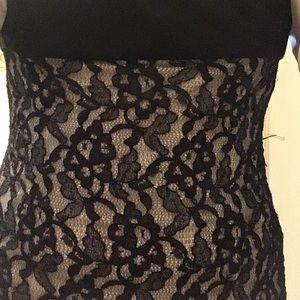 Black lace sleeveless open back dress